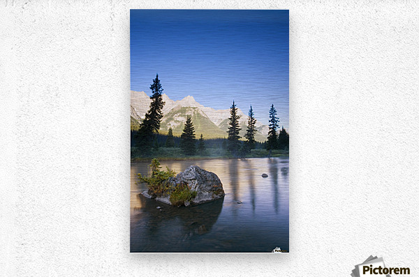 Sunrise And Early Morning Mist On Mountain River  Metal print
