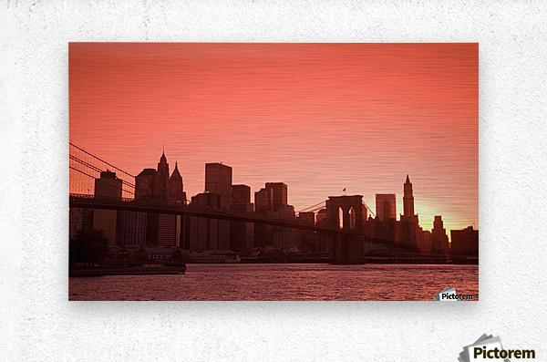 Lower Manhattan Skyline Viewed From Brooklyn Bridge Park, Brooklyn, New York City, New York, Usa  Metal print