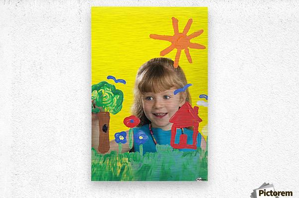 Girl Painting On Glass  Metal print