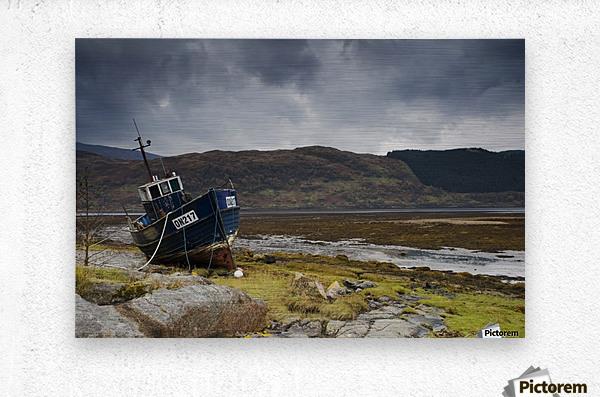 Boat Ashore, Loch Sunart, Scotland  Metal print