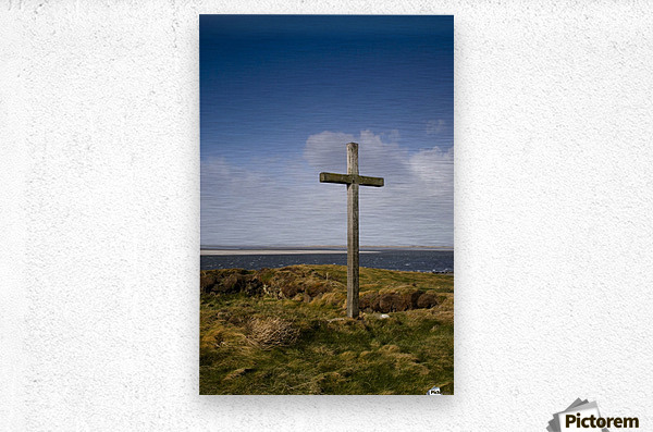 Grave Site Marked By A Cross On A Hill  Metal print