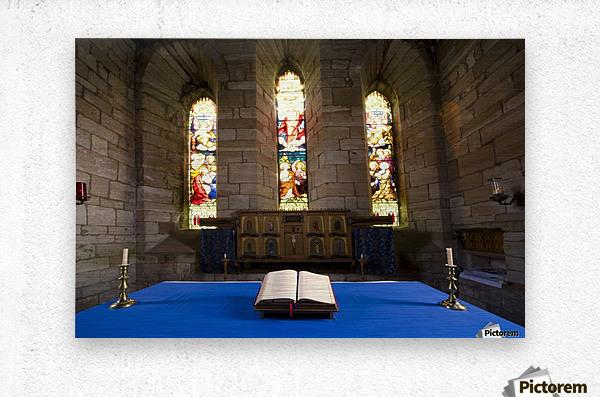Church And Open Bible, Holy Island, Bewick, England  Metal print