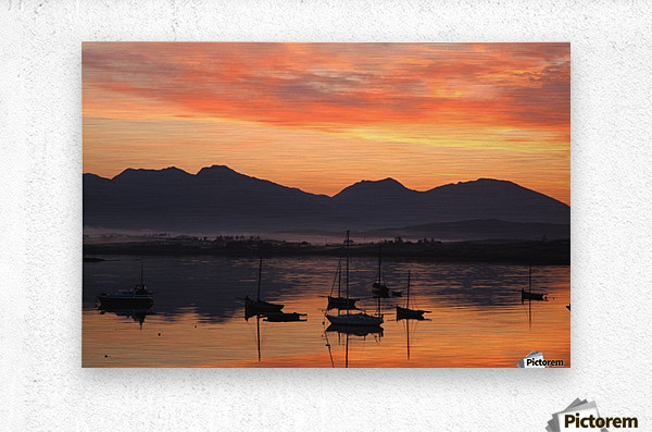 Sunrise At Roundstone Harbour With 12 Bens, Galway, Ireland  Metal print