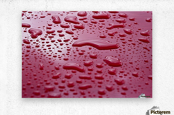 Liquid Drops On Red Surface  Metal print