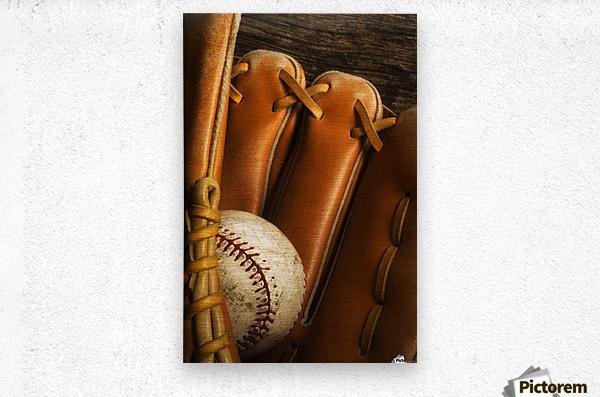 Baseball Glove And Baseball  Metal print