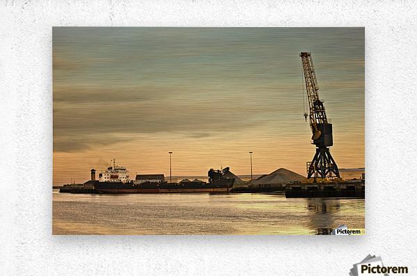 Tyne And Wear, Sunderland, England; Crane At A Shipping Dock  Metal print