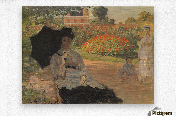 Camille in the garden with Jean and his nanny by Monet  Metal print