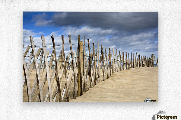 South Shields, Tyne And Wear, England; Dark Clouds Over Fence On A Beach  Metal print
