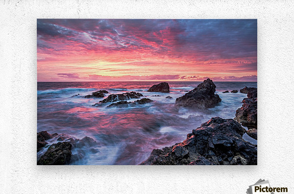 Colorful Sunset at Wild Coast on the Canary Islands  Metal print