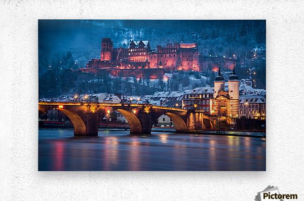 Heidelberg Castle and Old Brige in Winter  Metal print