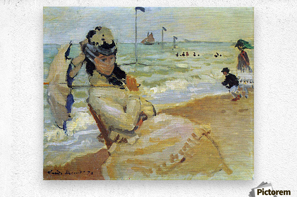 Camille on the beach at Trouville by Monet  Metal print