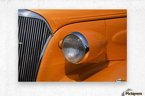 Orange Painted Vintage Car's Headlight And Front Grill; Port Colborne, Ontario, Canada  Metal print