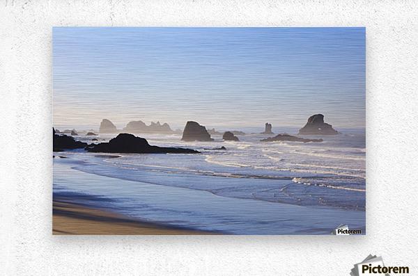 Tide At Indian Beach; Oregon, United States Of America  Metal print
