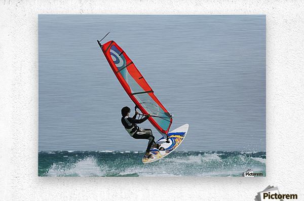 A Windsurfer In The Water; Tarifa, Cadiz, Andalusia, Spain  Metal print