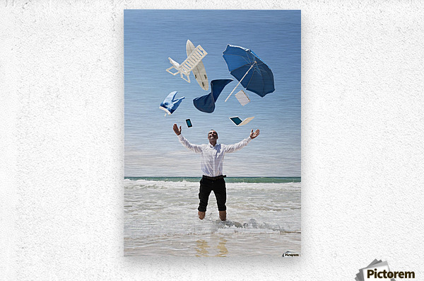 A Man Stands In The Ocean With Items From Work And Vacation Flying Over His Head; Tarifa, Cadiz, Andalusia, Spain  Metal print