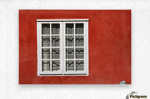Red Timber House And Window Frame In The Old Town; Porvoo, Finland  Metal print