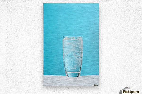 Very Full Glass Of Water With Ice  Metal print