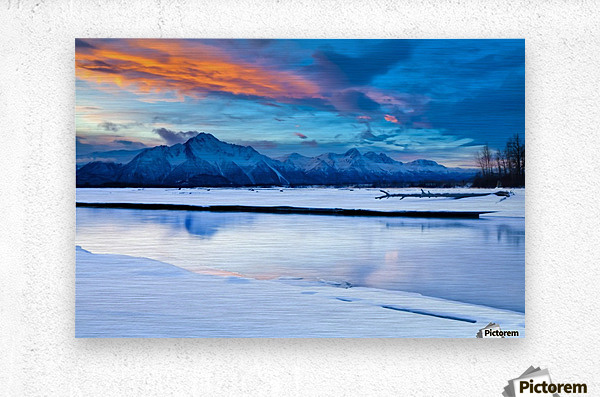 Scenic View At The Eklutna Tailrace Off The Old Glenn Highway In The Matanuska-Susitna Valley, Southcentral Alaska, Hdr  Metal print