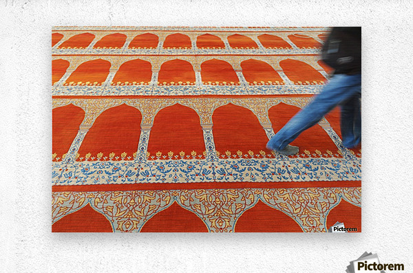 A person walking over the colourful carpet in the suleymaniye mosque;Istanbul turkey  Metal print