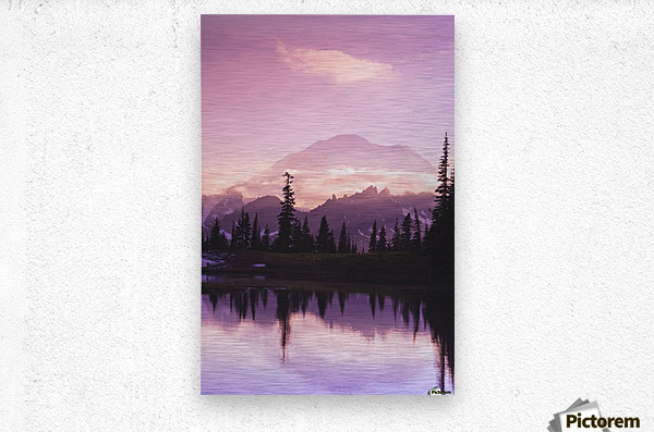 Sunset and a small reflecting pond near tipsoo lake mt. rainer national park near seattle;Washington united states of america  Metal print
