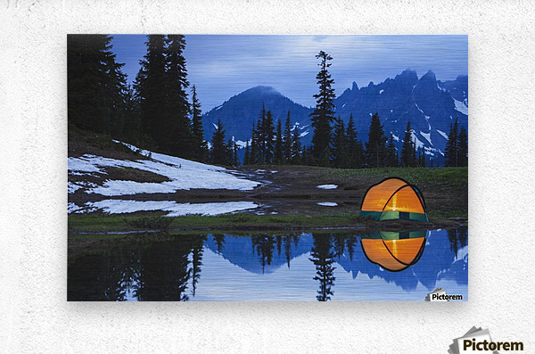 Camping tent at sunset by a small reflecting pond near tipsoo lake mount rainer national park near seattle;Washington united states of america  Metal print