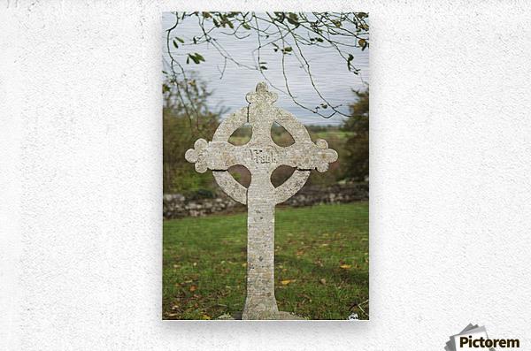 A celtic cross tombstone;Ireland  Metal print