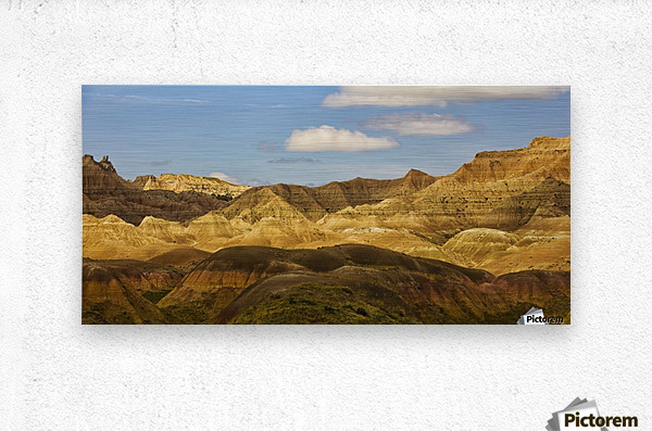 Dramatic light on the eroded formations of badlands national park; south dakota united states of america  Metal print