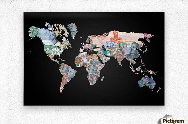 World map currencies worldflag canvas world map currencies metal print gumiabroncs Images