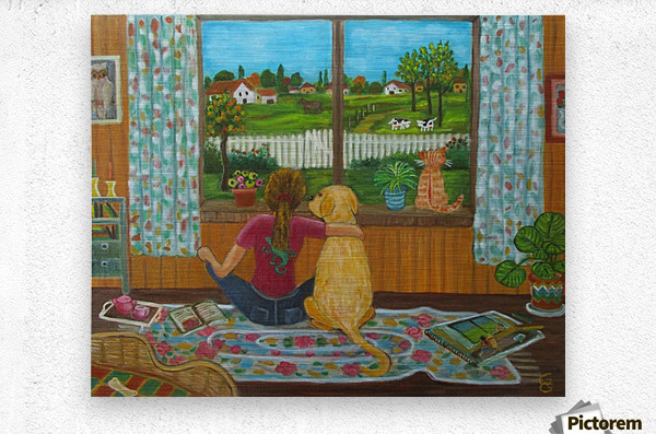 looking out the window  Metal print