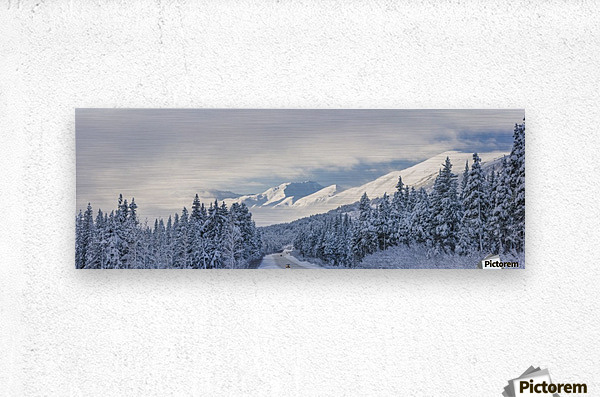 Clouds Clearing Over Seward Highway From The Kenai Mountains Above Turnagain Pass After A Winter Snow Storm, Fresh Snow In The Trees, Early Morning Sun, Turnagain Pass, Chugach National Forest, Southcentral Alaska, Usa.  Metal print