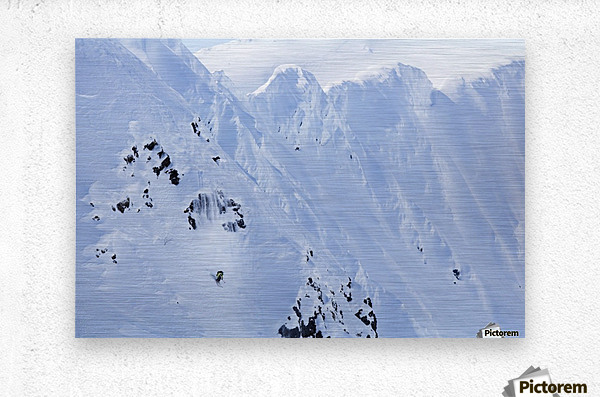 Backcountry Skiing In The Chugach Mountains In Late Winter; Southcentral Alaska, United States Of America  Metal print