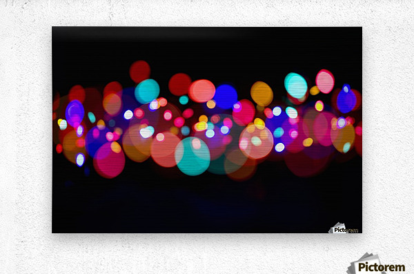 The Blur Of Coloured Lights; Edmonton, Alberta, Canada  Metal print