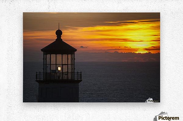 A sunset at North Head Lighthouse; Ilwaco, Washington, United States of America  Metal print