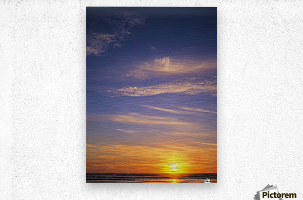 The sun sets at Umpqua Beach; Winchester Bay, Oregon, United States of America  Metal print