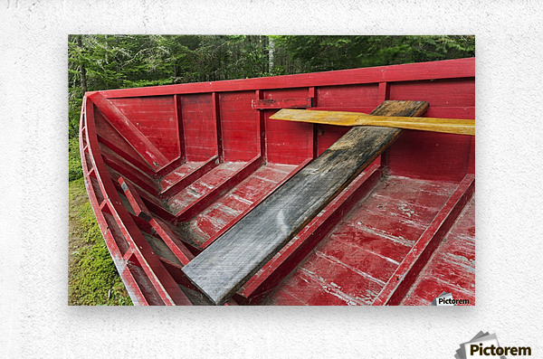 A 'Pointer' row boat designed in the mid 19th century for log driving, Algonquin Logging Museum, Algonquin Provincial Park; Ontario, Canada  Metal print