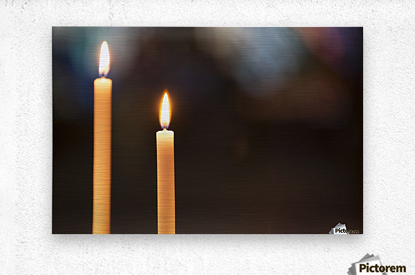 Burning candles; Northumberland, England  Metal print