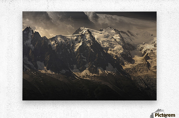 Aiguille du Midi and Mont Blanc, French Alps  Metal print