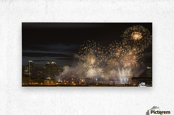 Fireworks in front of modern city skyline; Calgary, Alberta, Canada  Metal print