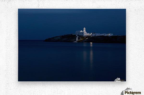 The Chrysopiyi Monsastery in Southeastern Sifnos at dusk; Sifnos, Cyclades, Greek Islands, Greece  Metal print