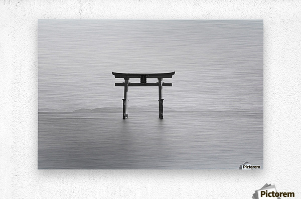 Black and white image of a floating shrine on a lake; Takashiyama, Shiga, Japan  Metal print
