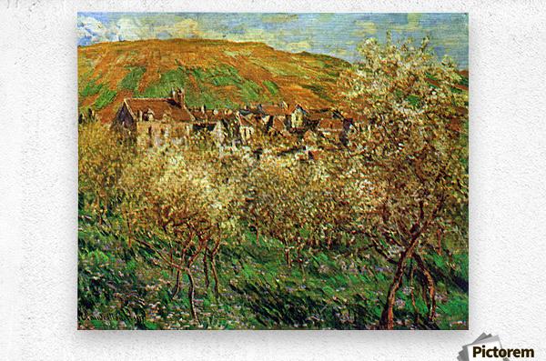 Flowering apple trees by Monet  Metal print