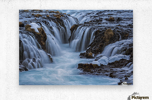 Turquoise water flowing over rocks into a river; Bruarfoss, Iceland  Metal print