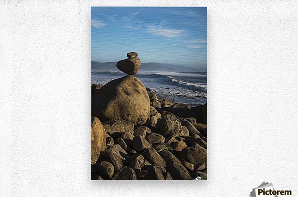 Stones have been balanced on Neahkahnie Beach; Manzanita, Oregon, United States of America  Metal print