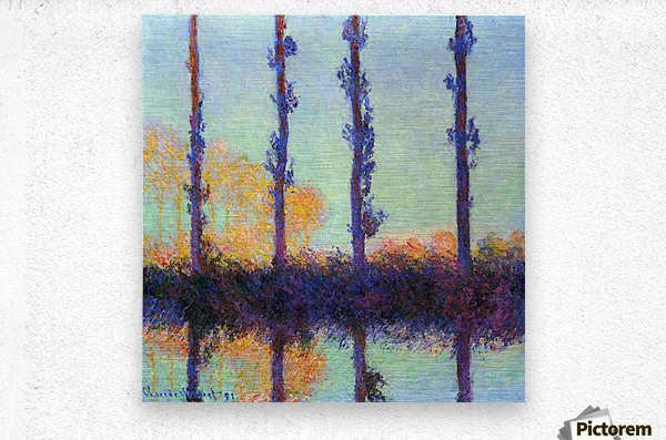 Four poplars by Monet  Metal print