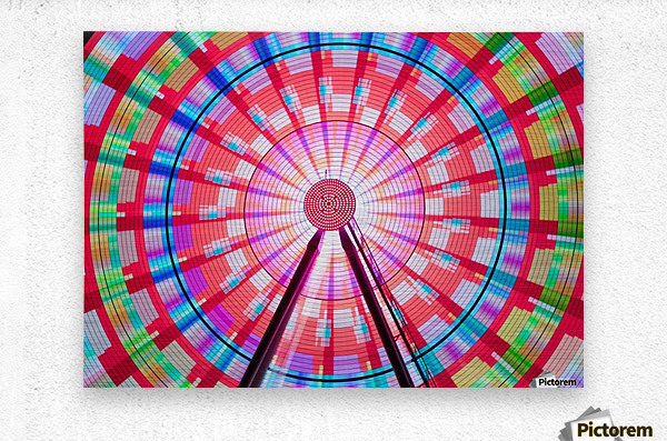 Long exposure photograph showcasing the many color combinations the Big Wheel produces at night; Seattle, Washington, United States of America  Metal print