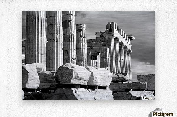 Mono piles of stones before ruined Parthenon; Athens, Attica, Greece  Metal print