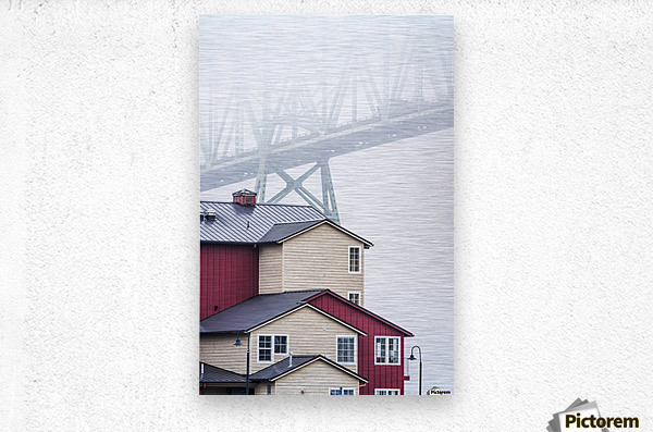 The Astoria-Megler Bridge disappears into the fog; Astoria, Oregon, United States of America  Metal print