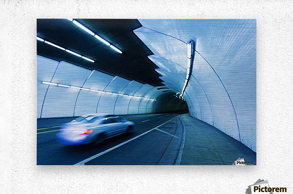 Urban Tunnel, Car moving with Motion Blur  Metal print