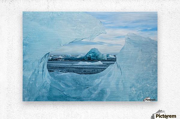 Icebergs on the southern beach near the ice lagoon of Jokursarlon; Iceland  Metal print