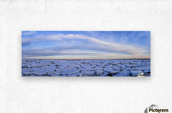 Ice forms on the shores of Hudson Bay as sunset starts to light up the clouds; Churchill, Manitoba, Canada  Metal print